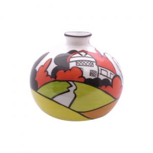 Hand Decorated 10cm Pottery Vase House in the Woods Design