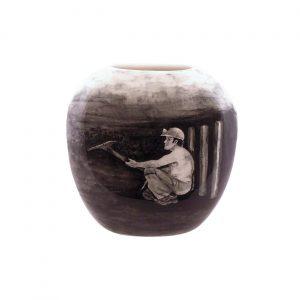 Tony Cartlidge Ceramic Artist Vase Coal Miner Design