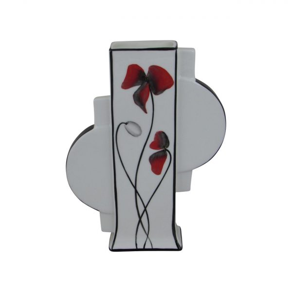 Emma Bailey Ceramics Geo Vase Red Poppy Design