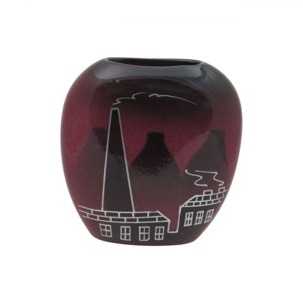 Purse Vase Potteries Design Maroon Colourway Lucy Goodwin