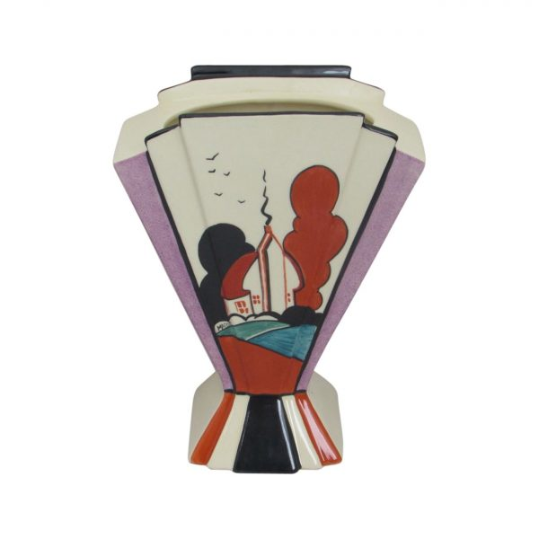 Marie Graves Freehand Ceramic Artist Vase Red Roof Farm Design