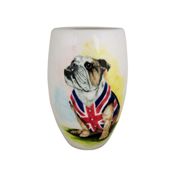 19cm Vase British Bulldog Design Tony Cartlidge Ceramic Artist