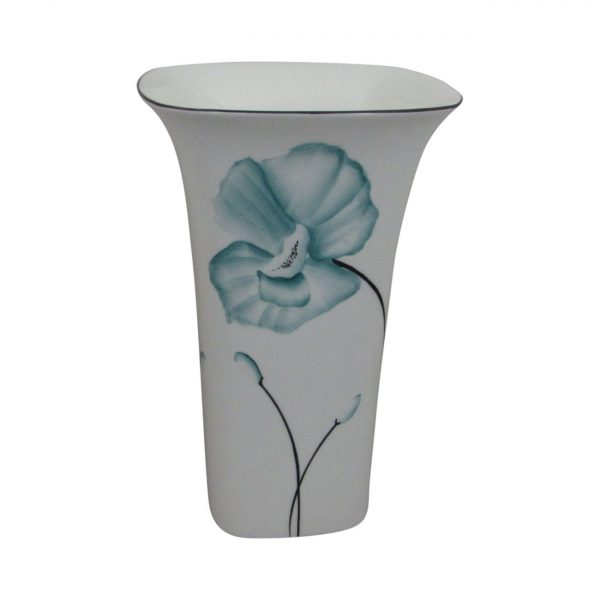 Emma Bailey Ceramics Square Vase Teal Poppy Design
