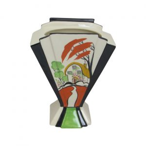 Marie Graves Ceramic Artist Fan Vase Rose Cottage Design