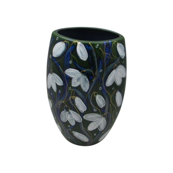 Snowdrop Design Oval Vase by Anita Harris Art Pottery
