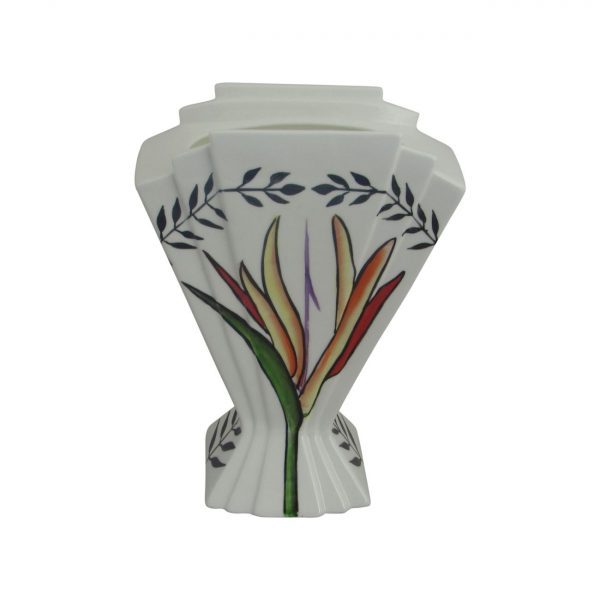 21cm Fan Vase Tropical Flower Design Emma Bailey Ceramics