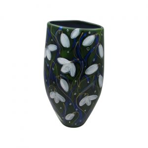 Snowdrop Design Triangle Vase by Anita Harris Art Pottery