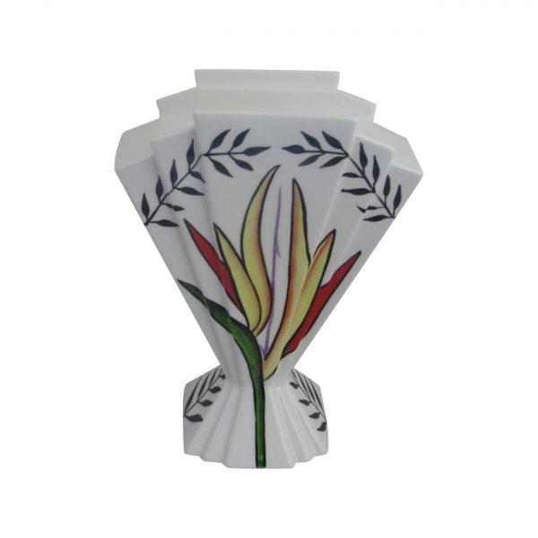 24cm Fan Vase Tropical Flower Design Emma Bailey Ceramics