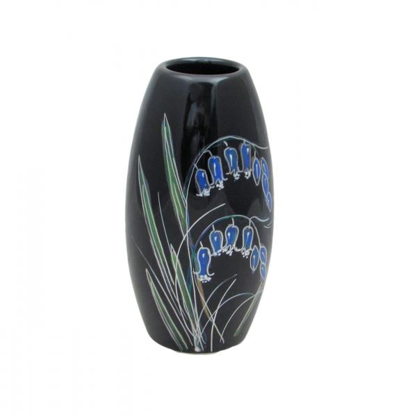 Black Bluebell Lustre 17cm Vase Anita Harris Art Pottery