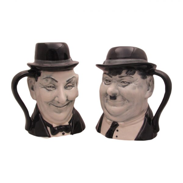 Laurel and Hardy Pair of Toby Jugs Bairstow Pottery
