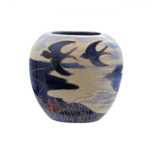 Blue Bird Design Vase Anita Harris Art Pottery