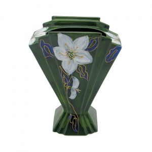 Christmas Rose Design Fan Vase Anita Harris Art Pottery