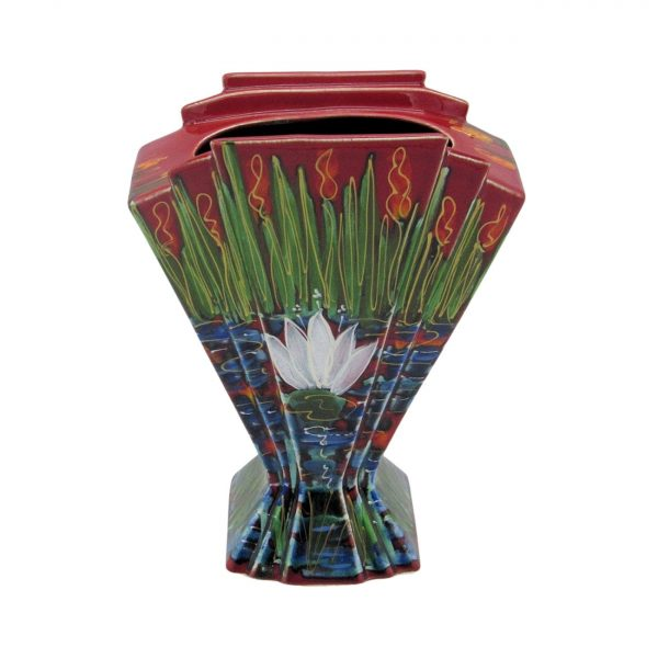 Water Lily Design Fan Vase Anita Harris Art Pottery