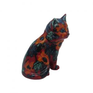 Floral Design Sitting Kitten Anita Harris Art Pottery