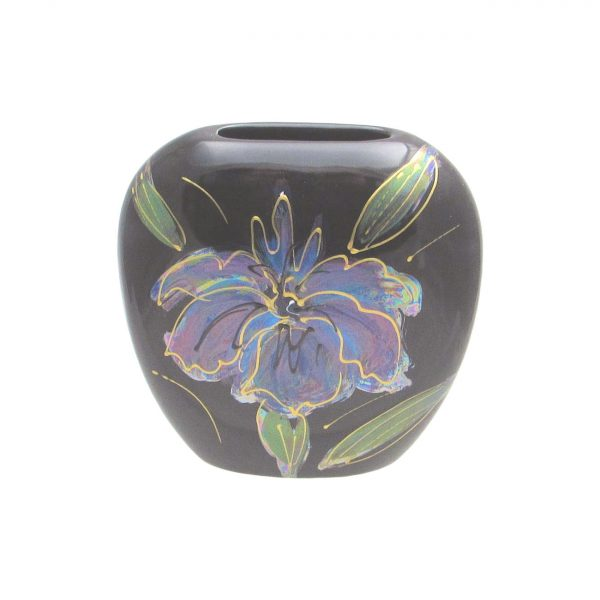 Black Iris Lustre 12cm Purse Vase Anita Harris Art Pottery