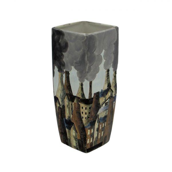 Potteries Daytime Skyline Design Vase Burslem Pottery