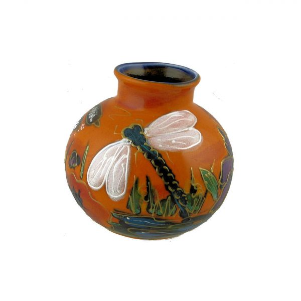 Dragonfly Design 10cm Vase by Anita Harris Art Pottery