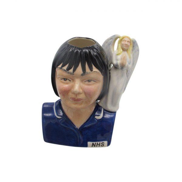 Female Nurse Toby Jug Black Hair Angel Handle Bairstow Pottery