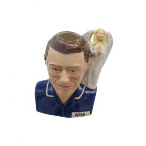 Male Nurse Toby Jug Brown Hair Angel Handle Bairstow Pottery