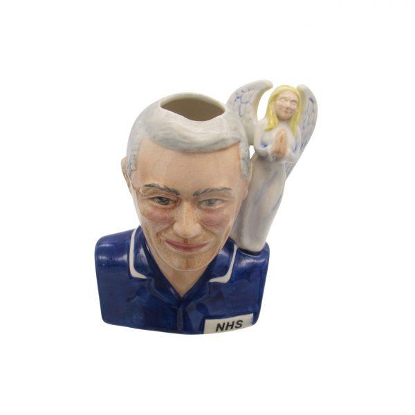 Male Nurse Toby Jug Grey Hair Angel Handle Bairstow Pottery