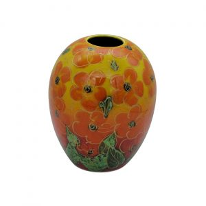 Orange Hibiscus 15cm Vase Anita Harris Art Pottery