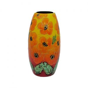 Orange Hibiscus Design 17cm Vase Anita Harris Art Pottery
