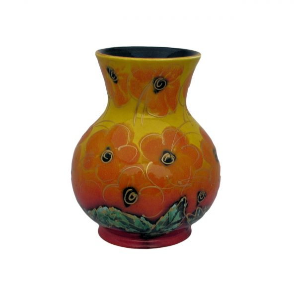 Orange Hibiscus 14cm Vase Anita Harris Art Pottery