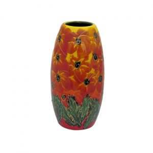 Red Hibiscus 17cm Vase Anita Harris Art Pottery