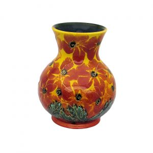 Red Hibiscus 14cm Vase Anita Harris Art Pottery
