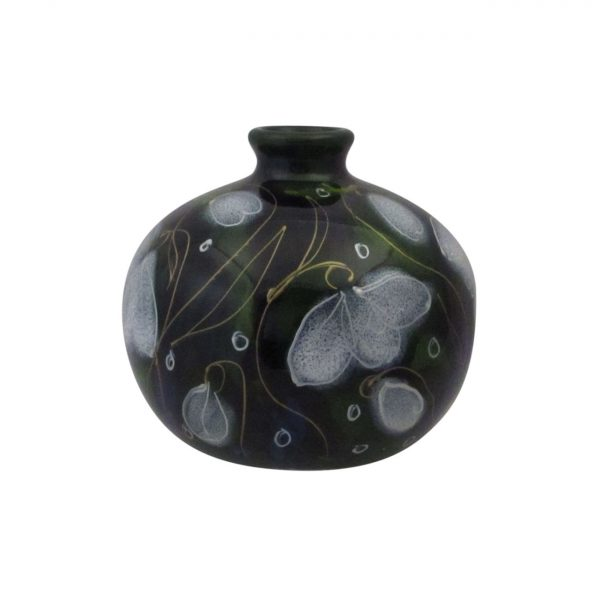 Anita Harris Art Pottery Small Round Vase Snowdrop Design.