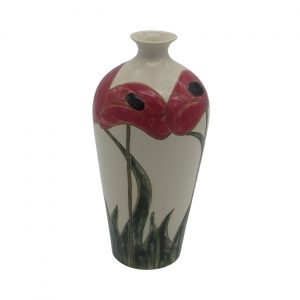 Burslem Pottery Tall Stoneware Vase Poppy Design