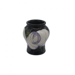 White Rose Design Vase Moorland Pottery