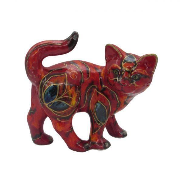 Walking Kitten Floral Design Anita Harris Art Pottery