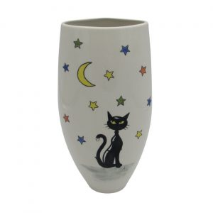 Cat Moon and Stars Design Vase Tony Cartlidge Ceramics