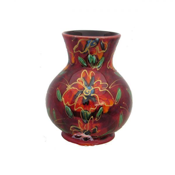 Golden Iris design 14cm Vase by Anita Harris Art Pottery