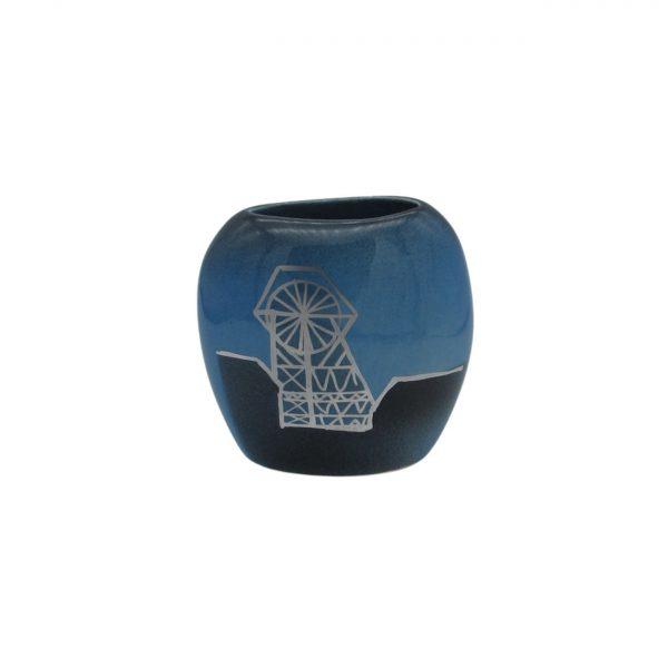 Pit Head Design Blue Purse Vase Lucy Goodwin Designs