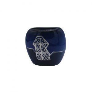 Pit Head Design Dark Blue Purse Vase Lucy Goodwin