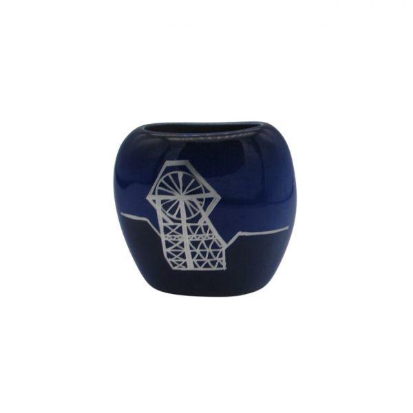 Pit Head Design Dark Blue Purse Vase Lucy Goodwin