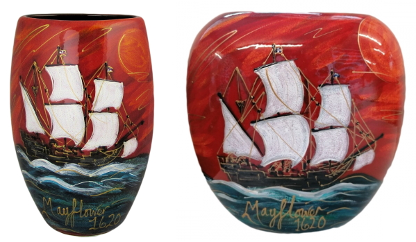 Mayflower 400th Anniversary Art Pottery Vases