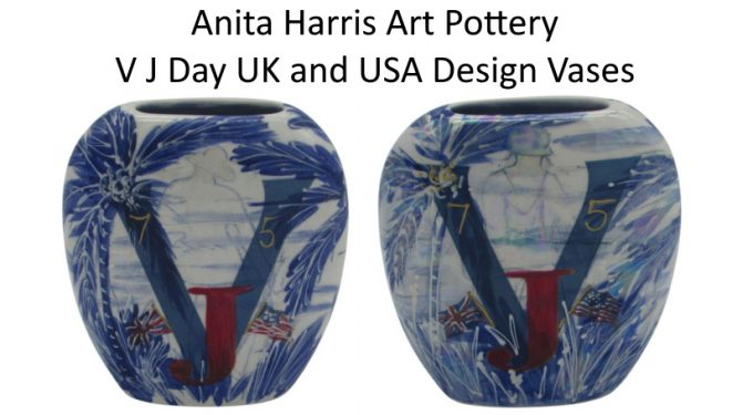 V J Day 75th Commemorative Vases